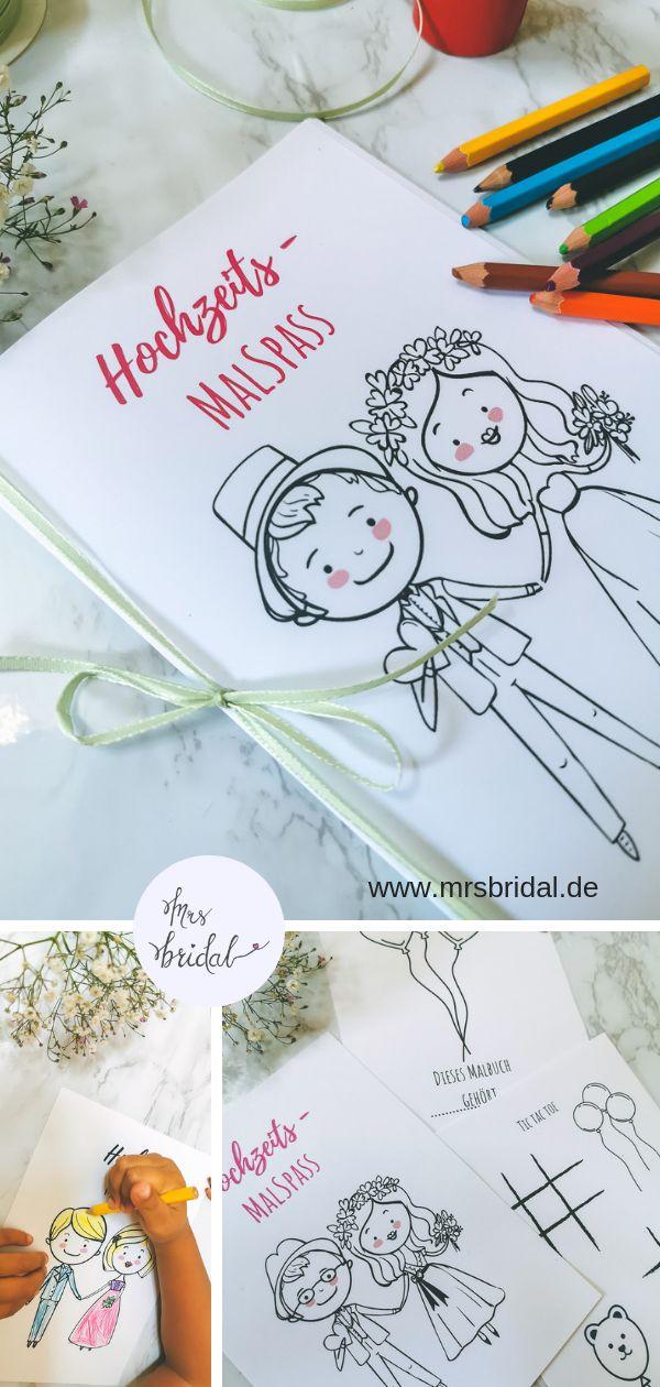 Süßes Hochzeitsmalbuch als PDF Download – kostenlos