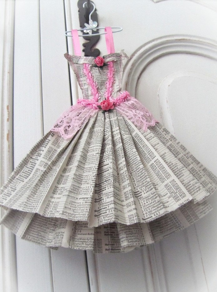 Cinderella's dress in phone book pages! - great invitation idea!