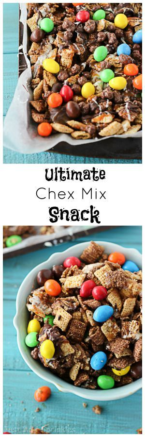 The Ultimate Snack; Chocolate Chex Mix tossed in a buttery brown sugar mixture and drizzled with plenty of chocolate, caramel & marshmallow toppings. Spinkle on a little sea salt and throw in your favorite candy pieces.