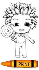 Kid Holding A Large Lollipot Print This Free Coloring Page For Kids