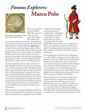 Fifth Grade History Comprehension Worksheets: Marco Polo