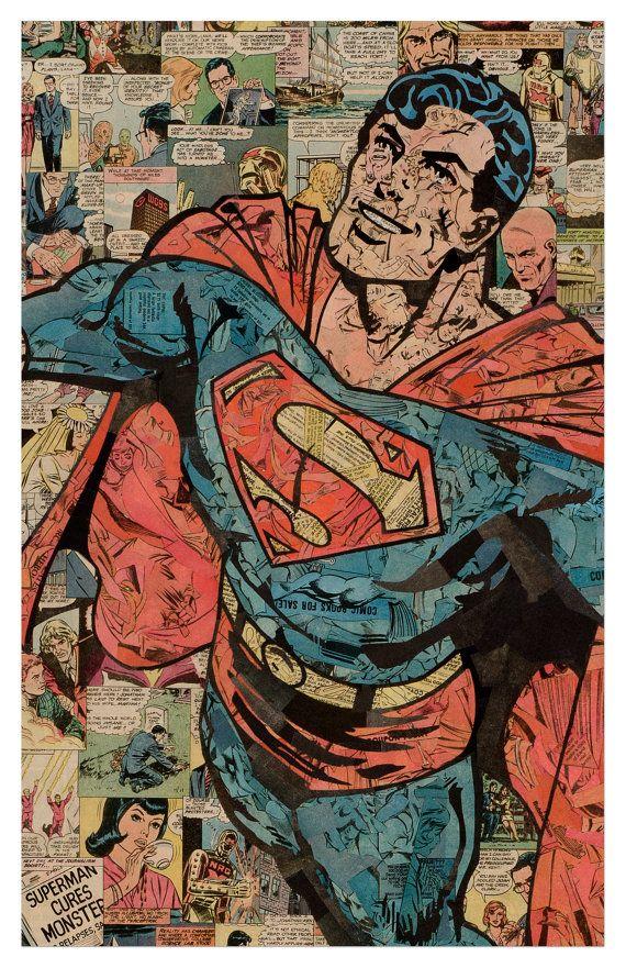 Superman Print 11x17 por ComicCollageArt en Etsy