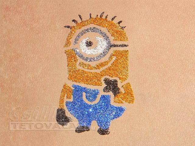 Minion csillámtetoválás sablon: Stuart. #csillamtetovalas #minion #glittertattoo