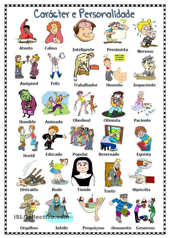 Adjetivos para descrever carácter e personalidade: