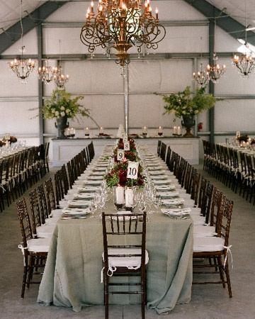 Chandeliers are an easy way to add a dose of glamour to a rustic venue