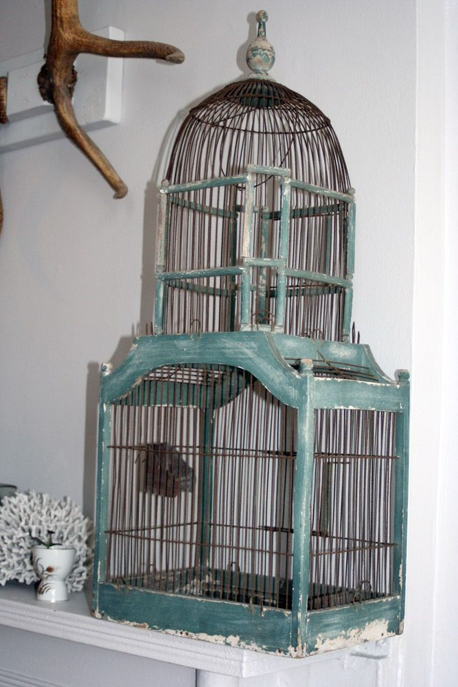 large beautiful antique victorian primitive wood wire bird cage french decor beautiful. Black Bedroom Furniture Sets. Home Design Ideas
