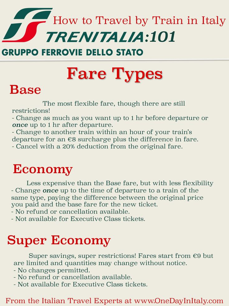 Trenitalia Fare Types: How to Travel by Train in Italy! | Let the travel consultants at OneDayInItaly.com help you plan your dream Italian vacation! Find out more: OneDayInItaly.com/plan-your-trip