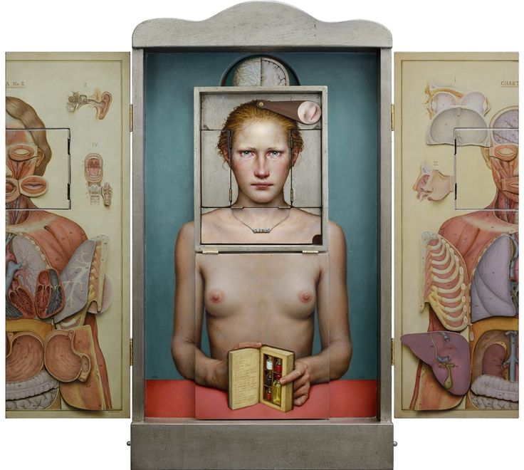 Dino Valls: PERSONAE, 2016. Oil and silver leaf on wood, 76 x 83,5 cms.(open) (Polyptych 13 articulated pieces + objects) More details: http://dinovalls-uncensored-paintings.blogspot.com.es/