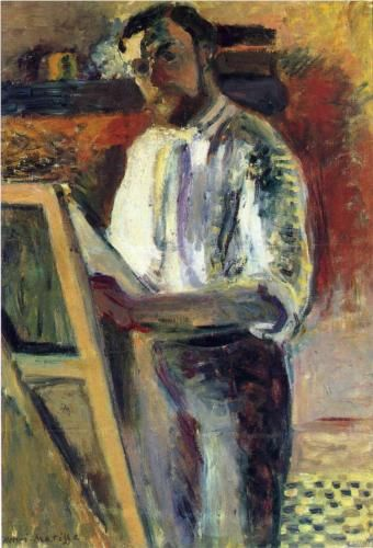 """Self-Portrait in Shirtsleeves - Henri Matisse. """"Only one person has the right to criticize me. That is Picasso."""" — Henri Matisse"""