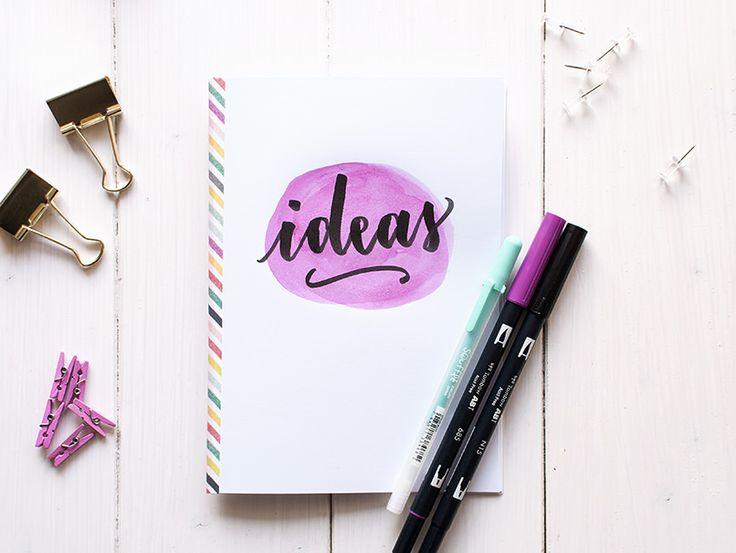 Tutorial libreta lettering y acuarela con washi tape.  LA GATA CON BOTAS, todo sobre caligrafia, lettering y creatividad