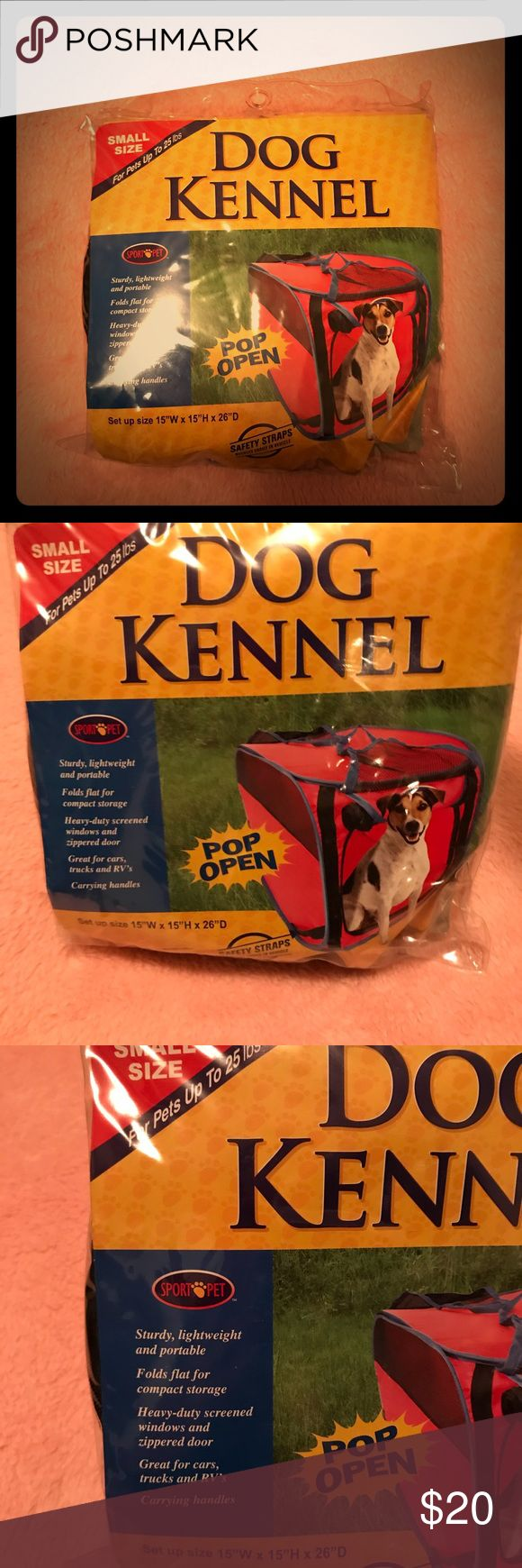 BRAND NEW SPORT PET RED POP UP DOG KENNEL Brand new   Sturdy lightweight and Portable.   Fold flat for compact storage.   Heavy-Duty screened windows and zippered door.   Great for cars, trucks, and RVS  Carrying handles Other