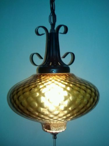 Vintage swag lighting fixtures vintage retro amber swag for Danish modern light fixtures