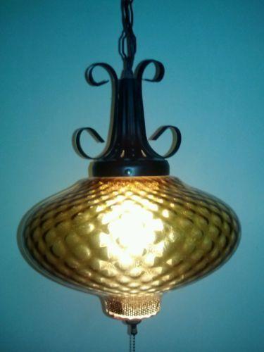 Vintage swag lighting fixtures vintage retro amber swag for Danish modern light fixtures
