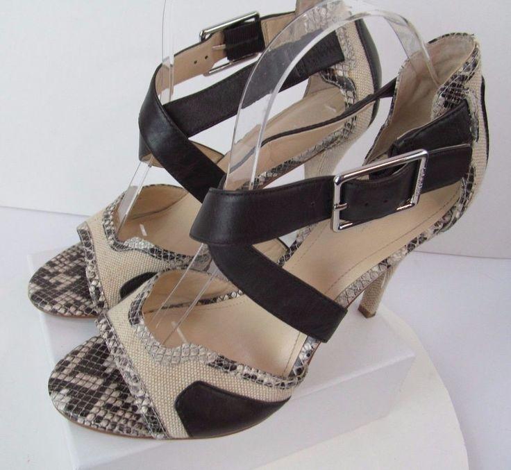 Women's Calvin Klein 8.5 Brown High Heel Open Toe Sandals Dress Shoes Pumps #CalvinKlein #Sandals #WeartoWork