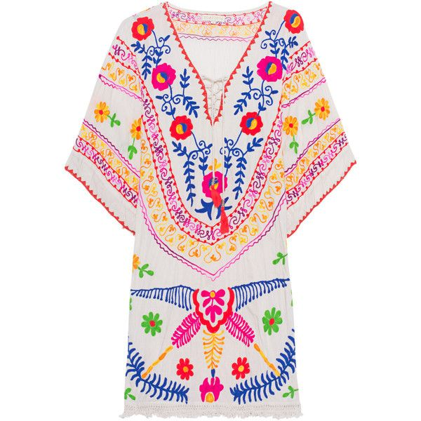 RUBY YAYA Neon Aari Moonbeam // Embroidered cotton dress (€189) ❤ liked on Polyvore featuring dresses, white cotton dress, v neck cocktail dress, white crochet dress, cotton summer dresses and white embroidered dress