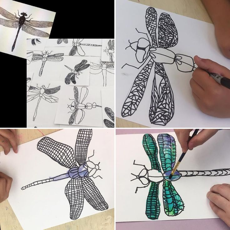 Who knew 2nd graders would rock these dragon flies! A bit more to finish, cutting it very close!! #dragonfly #irridescent #insects…