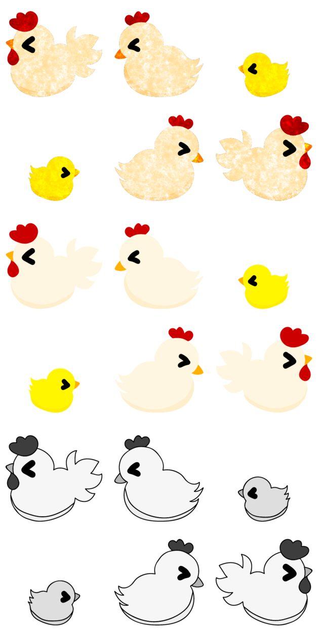 フリーのアイコン素材可愛いニワトリのアイコン / The icons of pretty chickens by atelier-bw    ダウンロードはこちらから  The downloading from this.