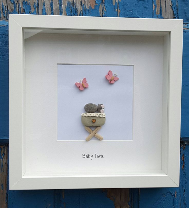 New baby gift, personalized gift, baby girl gift, baby boy, welcome to the world, baby frame, pebble art picture, nursery wall art, pink by CoastalPebblesShop on Etsy