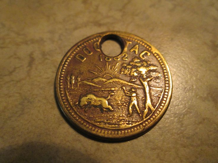 Dog License - 1882 La Fayette Indiana / Embossed Metal/ Dog Tag/ Pet Collectible / Dog Tax / Antique  Hunting Scene by AuctionAddict38 on Etsy