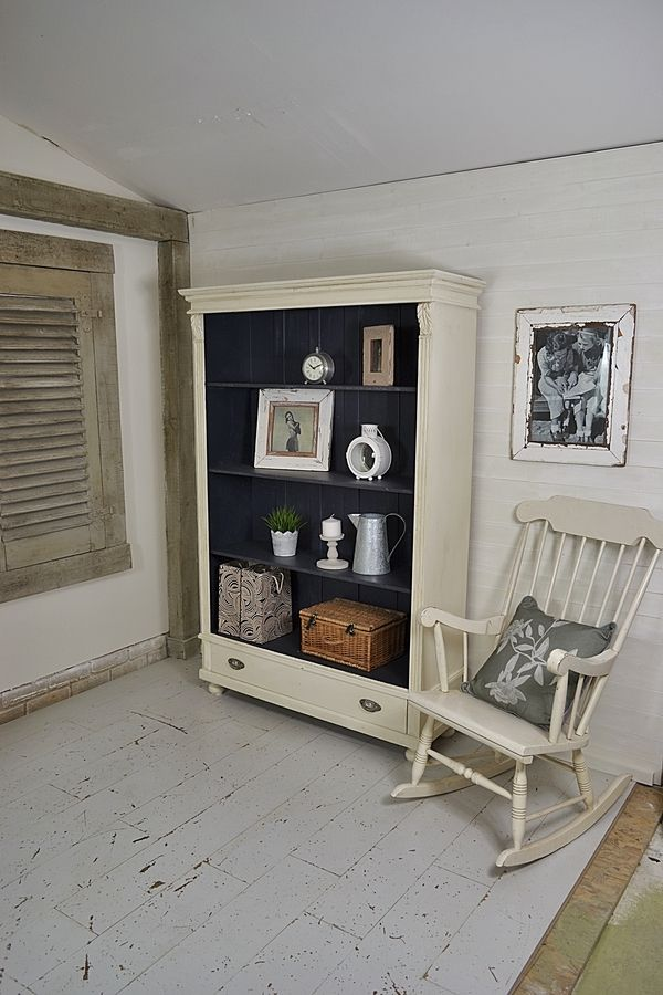 Rustic White Shabby Chic Bookcase with Drawer artwork