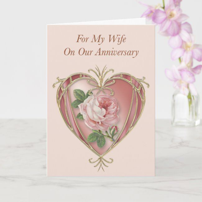 Anniversary Card For Wife Antique Rose Zazzle Com Anniversary Cards For Wife 50th Anniversary Cards Anniversary Cards
