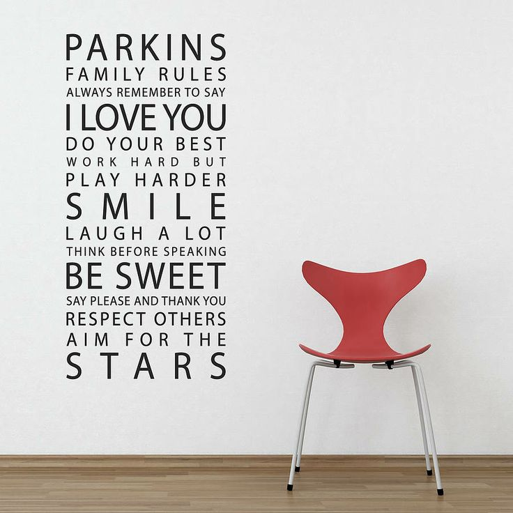 personalised 'family rules' wall sticker by parkins interiors | notonthehighstreet.com