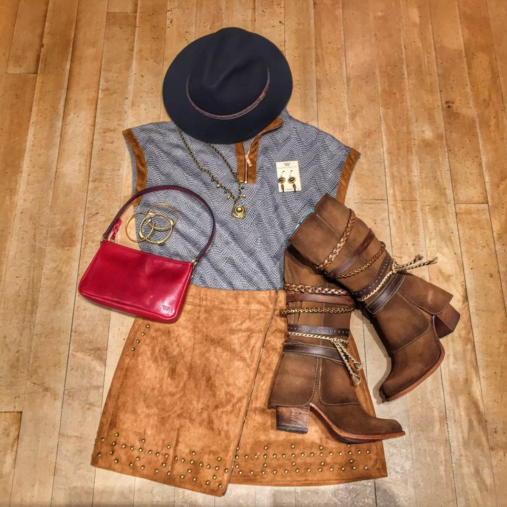 Rodeo style inspiration: Daring Darling | King Ranch Saddle Shop Get the look: Safari Crushable Hat | Simple Taupe Top | Camel Suede Skirt | Tobacco Harness Decor Shortie | Going Out Bag in Red Leather | Charcoal Red Onyx Drop Earrings | Hematite Unicorn Diamond Necklace | Pyrite Bangle Set of 3