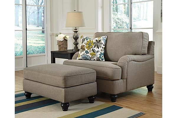 "The Hariston Oversized Chair from Ashley Furniture HomeStore (AFHS.com). With the unique pleated upholstered look of the stylishly shaped set-back arms and accent welting details adorning the plush comfortable cushioning, the ""Hariston-Shitake"" upholstery collection takes the relaxed Vintage Casual style and infuses it with the comfort you have been dreaming of."