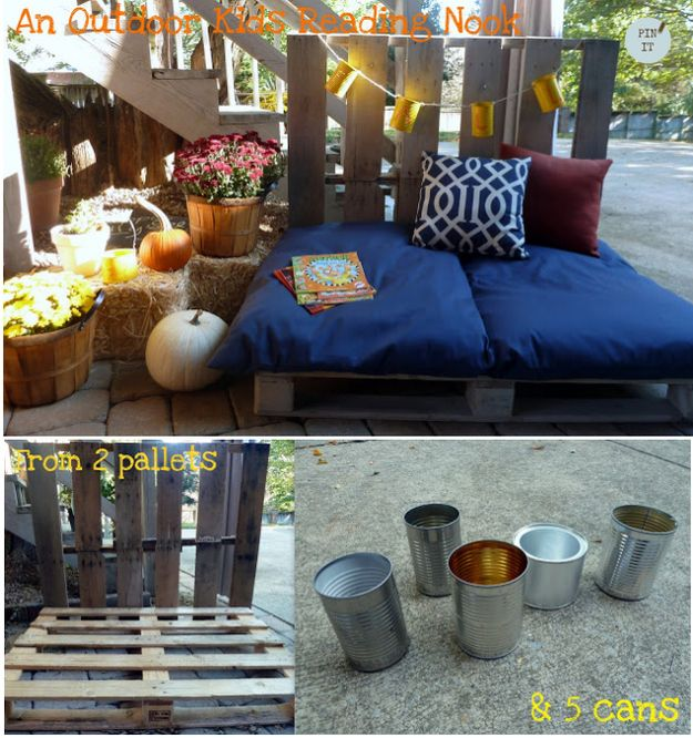 Build an outdoor reading nook with pallets. | 21 Cozy Makeshift Reading Nooks