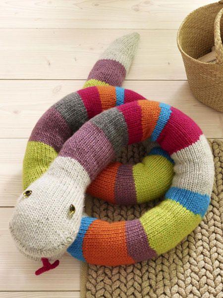 Kuscheltiere stricken: Zahme Schlange
