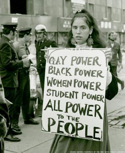 Protestor at gay rights demonstration, Weinstein Hall, NYU campus, 1970 (Photograph by Diana Davies, Diana Davies Papers), NY Public Library Schwartzman Research Branch.