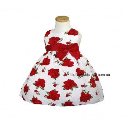 Girls cotton Dress Red Rose QSDS950
