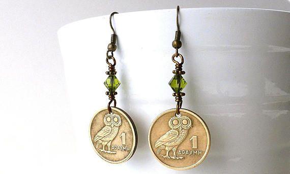 Greek coin earrings Owl earrings Coin jewelry Bird