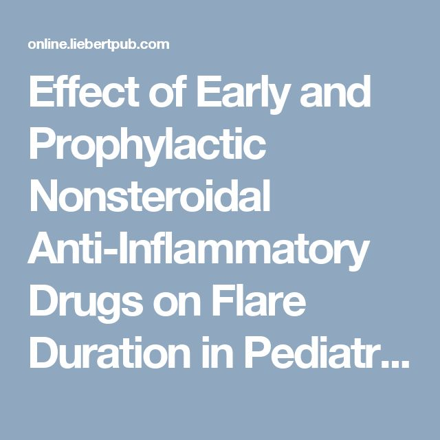 Effect of Early and Prophylactic Nonsteroidal Anti-Inflammatory Drugs on Flare Duration in Pediatric Acute-Onset Neuropsychiatric Syndrome: An Observational Study of Patients Followed by an Academic Community-Based Pediatric Acute-Onset Neuropsychiatric Syndrome Clinic
