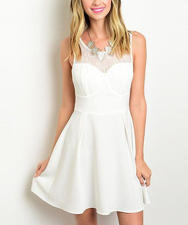 Love this White Lace Cutout-Back Dress on #zulily! #zulilyfinds