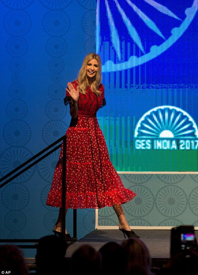 Also in Hyderabad, Trump wore a printed Saloni Lodha red and black number with frilly sleeves