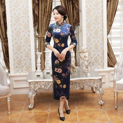 Traditional Navy Velour Half Sleeve Long Cheongsam Floral Evening Dress