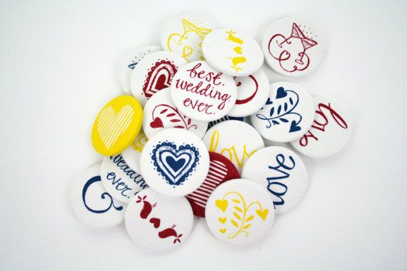 Hand Screen Printed Fabric Wedding Badges in Primary Colours - Wedding Favours - Pack of 10