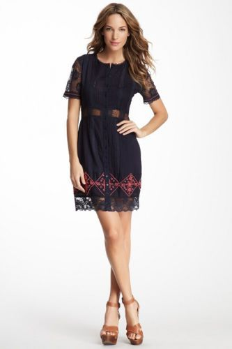 Candela Alexis Lace and Beaded Dress in Black Retail $308.00 Sale $198.00. Gorgeous black woven Candela dress with hand embroidered details throughout. Lovely fuchsia beads detail the bottom of the dress in an exquisite diamond and floral pattern.  An elegant row of beads caresses the sleeve cuffs.  Sheer Voile Victorian lace with lovely floral pattern graces the sleeves, waist and hem. Change those flats to high strappy pumps. Add a bangle and a cute clutch. Time to dance the night away!