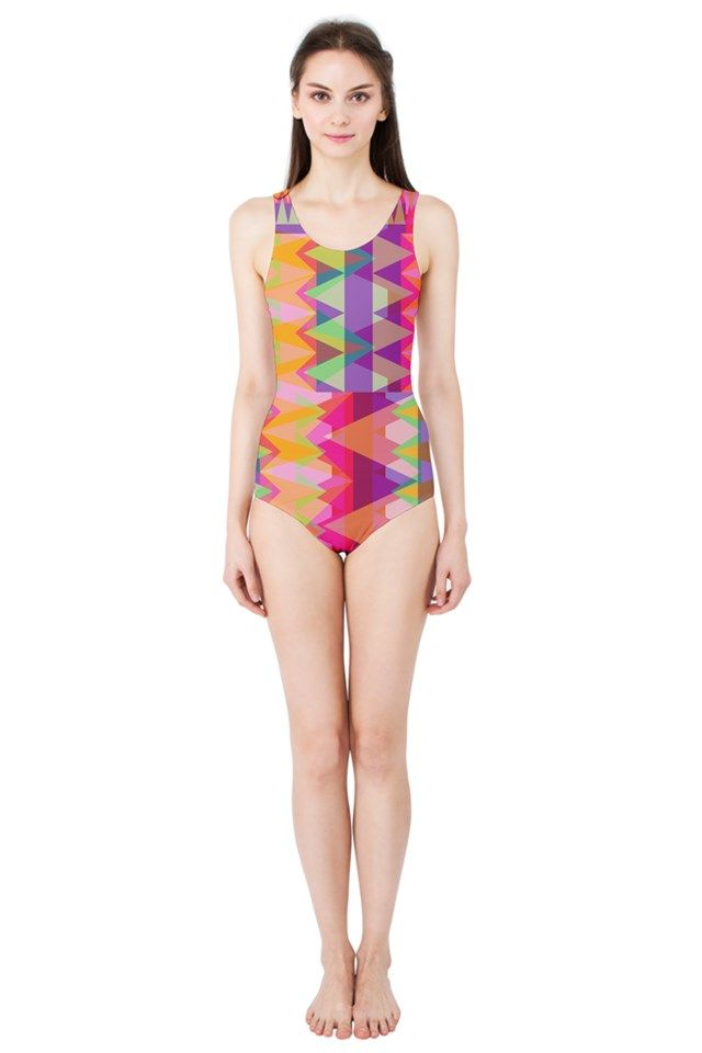 Triangle Fun_MirandaMol Women's One Piece Swimsuit  #pinkcess #mirandamol #fashion #cool #beachwear #swimsuit #beach #summer #pinkcess #pinkcessfashion #pnkx