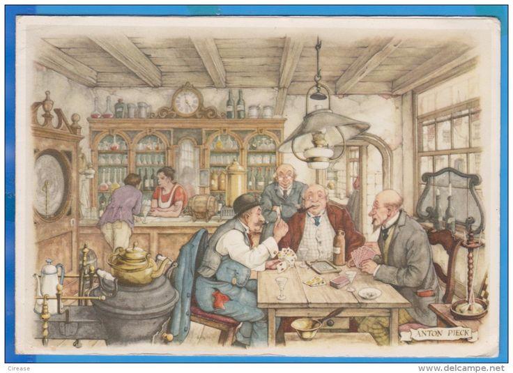 Humorous painting postcard, samovar,  Anton Pieck