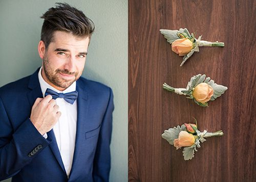 Sexy Groom, blue bowtie, buttonhole apricot roses
