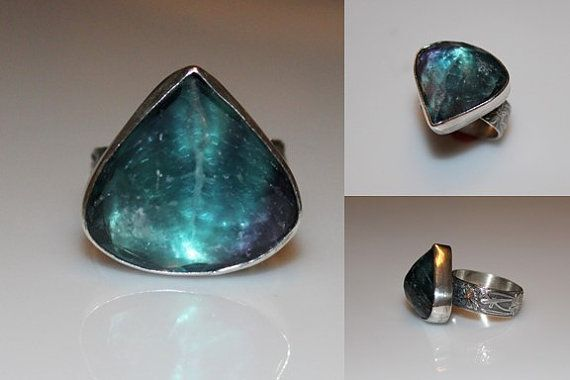 beautiful peacock colored Flourite gem ring in sterling.  handmade by MyFascinationStreet on Etsy