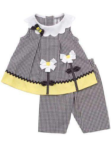 Rare Editions Baby Girls Flower Seersucker Spring Dress Capri Outfit Set , Black , 2T « Clothing Impulse: