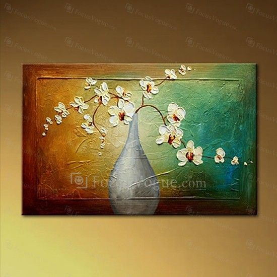 """Hand-painted Flower Oil Painting with Stretched Frame-16"""" x 24"""" - Focus Vogue"""