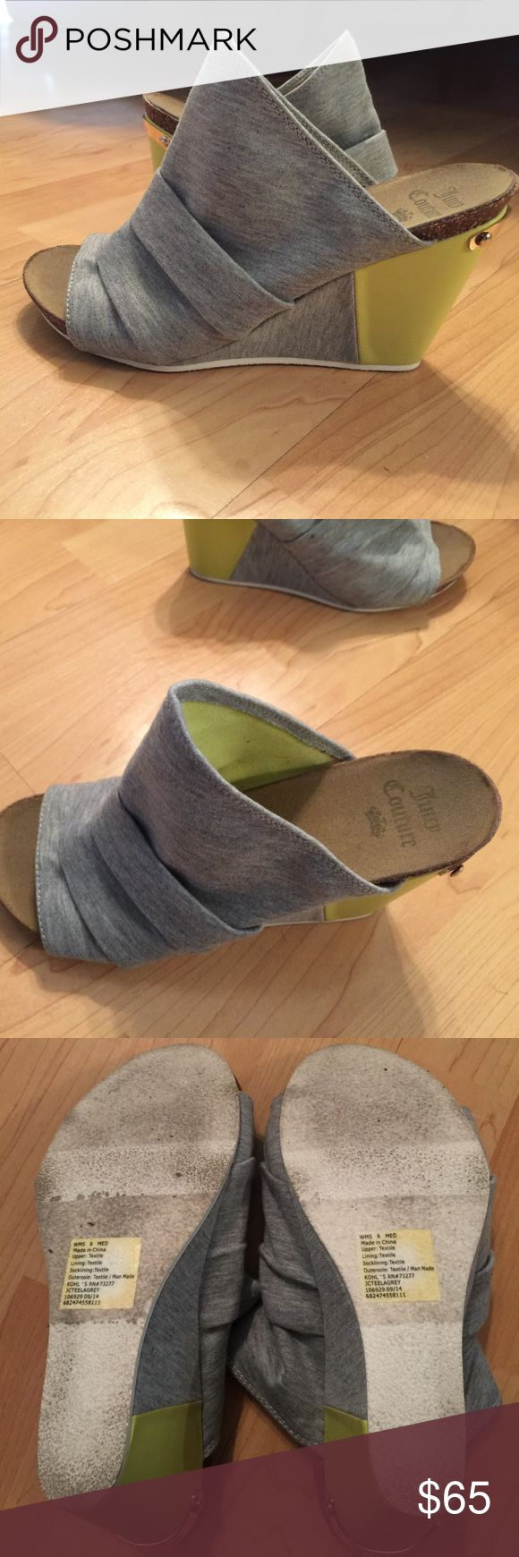 Juicy couture grey and neon yellow wedges Juicy couture grey and neon yellow wedges Juicy Couture Shoes Wedges