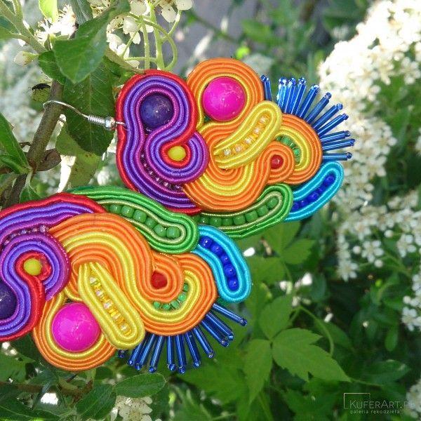 Kolorowe kolczyki sutasz - Kolczyki - Biżuteria artystyczna