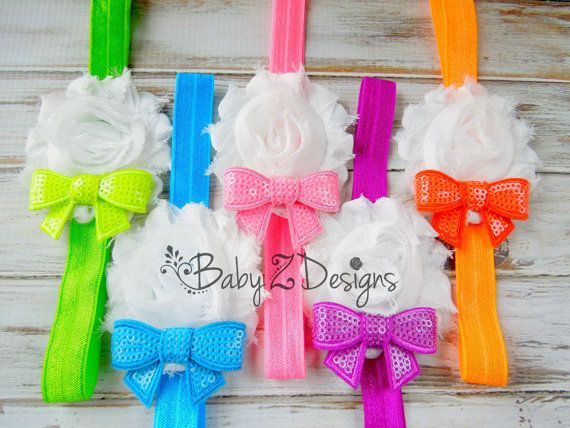 Neon Shabby Flower and Sequin Bow Headband  by babyzdesigns, $5.99