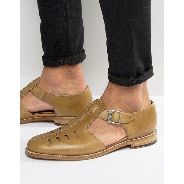 Grenson Rafferty Sandals ($260) via Polyvore featuring men's fashion, men's shoes, men's sandals, tan, mens tan leather shoes, mens tan shoes, mens leather sandals, grenson mens shoes and mens leather strap sandals
