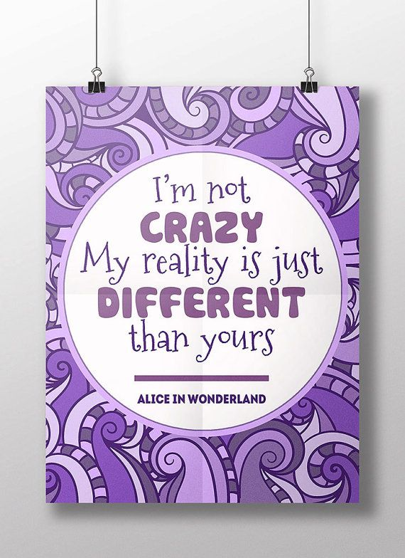 """Cheshire cat famous quote """"I'm not crazy"""", Alice in wonderland Lewis Carroll book, disney room decor, children nursery wall art, teen gift"""